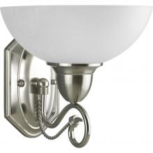 Progress P3265-09 - One Light Brushed Nickel Etched Watermark Glass Bathroom Sconce