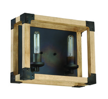 Craftmade 41502-FSNW - Cubic 2 Light Vanity in Fired Steel with Natural Wood