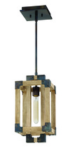Craftmade 41591-FSNW - Cubic 1 Light Mini Pendant in Fired Steel with Natural Wood