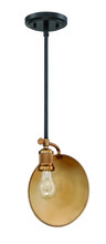 Craftmade 42391-FBPAB - Eclipse 1 Light Mini Pendant in Flat Black/Patina Aged Brass