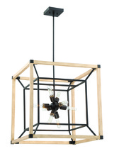 Craftmade 43739-TBDO - Tesseract 8 Light Chandelier in Textured Black with Distressed Oak