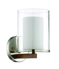 Craftmade 46461-PLNWB - Lark 1 Light Wall Sconce in Polished Nickel and Whiskey Barrel