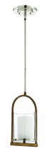 Craftmade 46491-PLNWB - Lark 1 Light Pendant in Polished Nickel and Whiskey Barrel