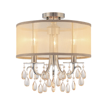 Crystorama 5623-AB_CEILING - Crystorama Hampton 3 Light Brass Etruscan Crystal Drum Shade Ceiling Mount