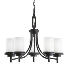 Sea Gull 31661BLE-839 - Fluorescent Winnetka Five Light Chandelier in Blacksmith with Satin Etched Glass